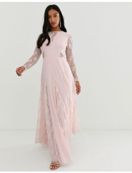 asos-design-petite-maxi-dress-with-long-sleeve-and-lace-panelled-bodice by asos-design