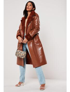 rust-vinyl-faux-fur-double-breasted-coat by missguided