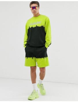 asos-design-–-oversize-sweatshirt-in-neon-waschung-mit-future-aufdruck,-kombiteil by asos