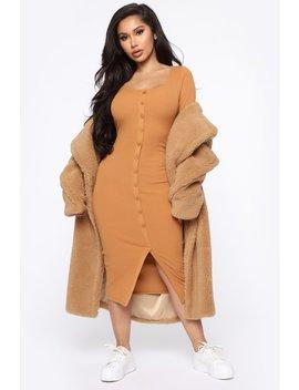 beverly-button-front-midi-dress---camel by fashion-nova