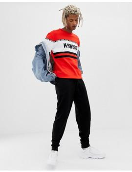 k-swiss-–-fresno-–-rotes-sweatshirt-mit-bahnendesign by asos