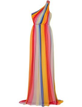 one-shoulder-striped-pleated-silk-tulle-gown by carolina-herrera