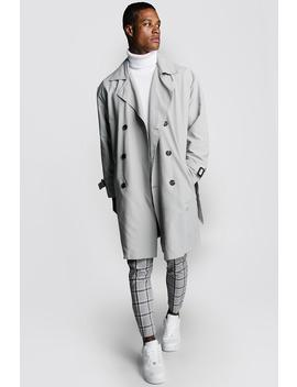 Oversized Check Lined Trench Coat by Boohoo