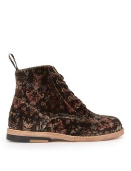 Print Velvet Ankle Boots Buster by Young Soles