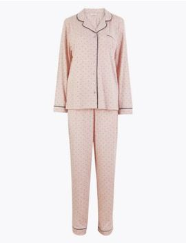 cool-comfort-cotton-modal-spot-print-pyjama-set by marks-&-spencer