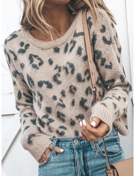 Light Coffee Leopard Print Oversize Round Neck Long Sleeve Slouchy Cute Pullover Jumper Sweater by Cichic