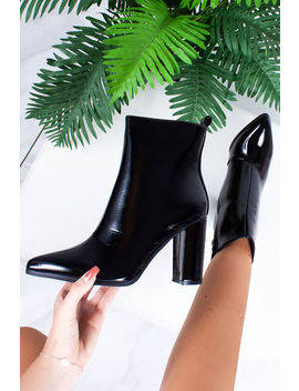 Vivie Black Pointed Toe Heeled Ankle Boots by Lavish Luxe