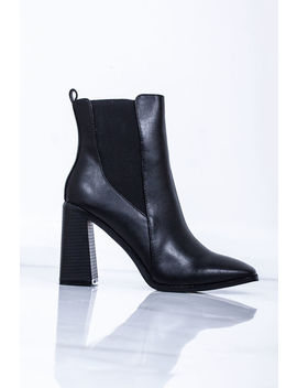 Rita Black Block Heel Ankle Boots by Lavish Luxe