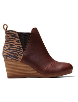 Dark Brown Leather And Zebra Suede Women's Kelsey Booties by Toms