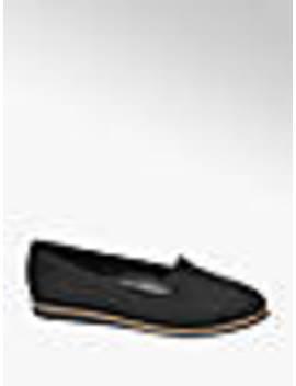 Black Contrast Sole Slip On Loafers by Graceland