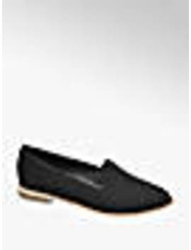 Black Contrast Sole Loafers by Graceland