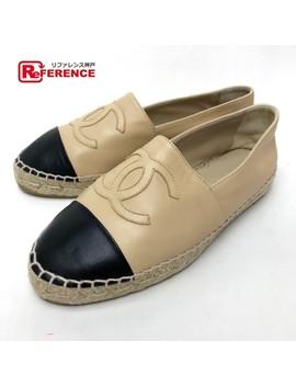 Chanel Chanel Shoes Flattie Espadrille Cc Leather Beige Lady's by Rakuten Global Market