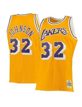 Mitchell & Ness Magic Johnson Los Angeles Lakers Gold 1984 85 Hardwood Classics Swingman Jersey by Fans Edge