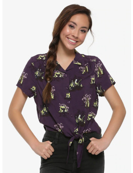 Our Universe Disney Sleeping Beauty Maleficent Tie Front Woven Button Up by Her Universe