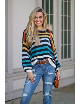 Intuition Multi Color Striped Sweater by Madison + Mallory