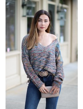 Vallarta Multi Color Frayed Hem Sweater by Madison + Mallory
