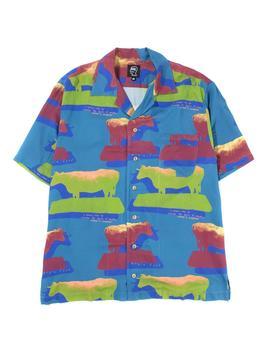 Brain Dead Cow Print Short Sleeve Button Up / Cows by Brain Dead