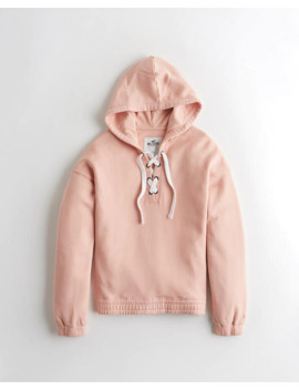 Lace Up Hoodie by Hollister
