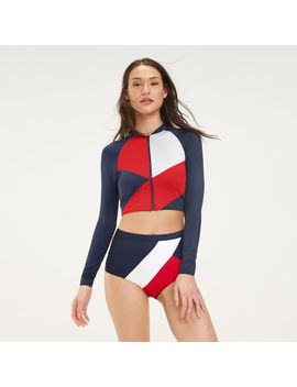 Cropped Rashguard Zip Top by Tommy Hilfiger