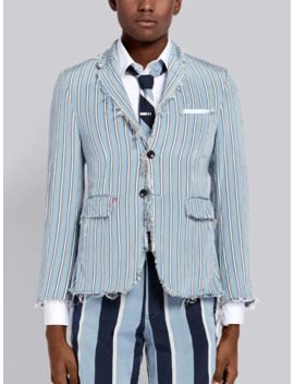 Distressed Tricolor Stripe Classic Sport Coat by Thom Browne
