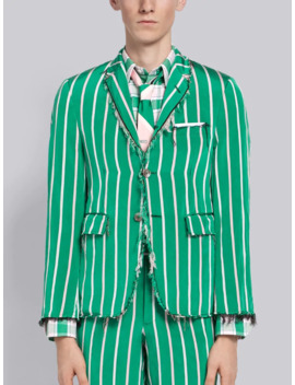 Distressed Banker Stripe Classic Sport Coat by Thom Browne