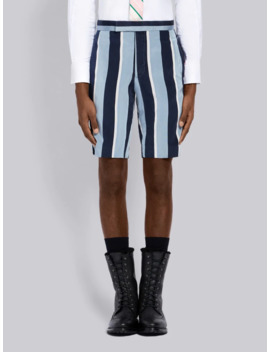 Distressed Wide Repp Stripe Short by Thom Browne
