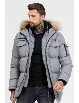 Storm Grey Double Layered Parka by Good For Nothing Mens