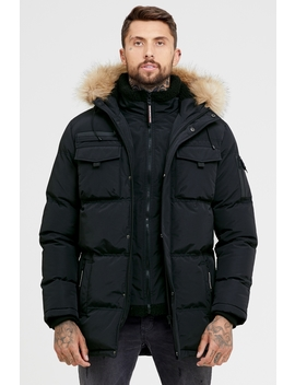 Storm Black Double Layered Parka by Good For Nothing Mens