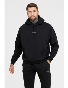 Oversized Archive Black Hoodie by Good For Nothing Mens