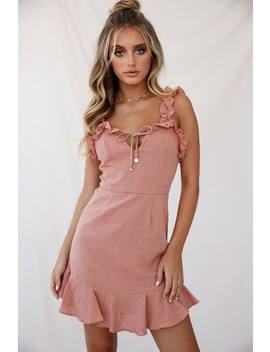 Elah Frilly Mini Dress Rose by Selfie Leslie