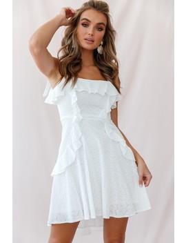 Montecito Tie Strap Frill A Line Dress White by Selfie Leslie