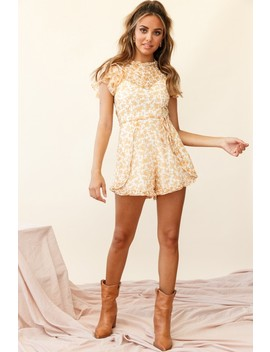 Pomelo Ruffle Sleeve Cut Out Back Dress Floral Print Yellow by Selfie Leslie
