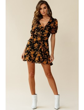 Wonderland Wrap Front Tea Dress Floral Print Black/Mustard by Selfie Leslie