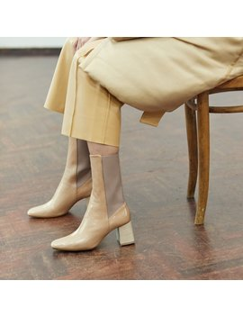 Judita Beige Crinkle Leather Slip On Boots by Miista