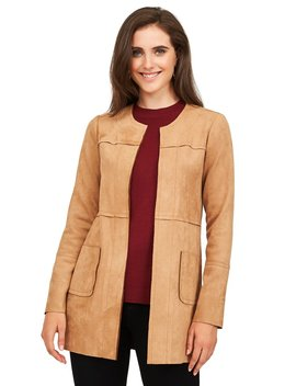 Collarless Imitation Suede Car Coat by Suzy Shier