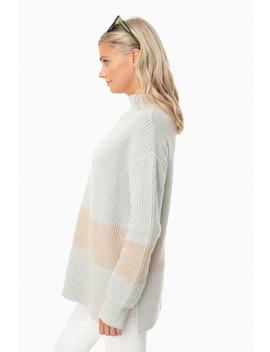 Heather/Camel Broadway Stripe Sweater by Tuckernuck