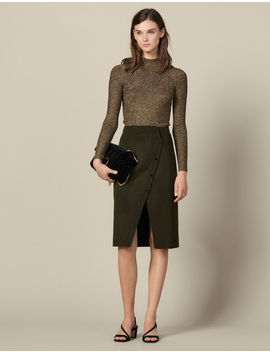 Wool Wrapover Skirt With Slit by Sandro Paris