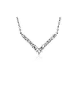 Fancy Shape Diamond Chevron Necklace In 14k White Gold (1/4 Ct. Tw.) by Blue Nile