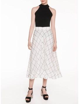 Sheer Check Midi Skirt by Veronika Maine