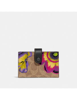 Accordion Card Case In Signature Canvas With Kaffe Fassett Print by Coach