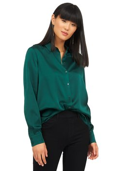 Long Sleeve Satin Sheen Blouse by Suzy Shier