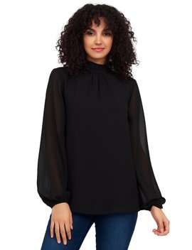 Long Balloon Sleeve Mock Neck Blouse by Suzy Shier
