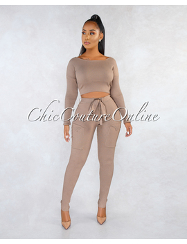Maeryn Brown Ribbed Cargo Pants Two Piece Set by Chic Couture