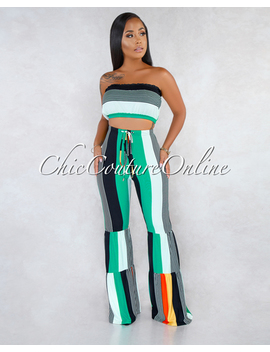 Esmeralda Black Orange Green Stripes Bell Legs Two Piece Set by Chic Couture