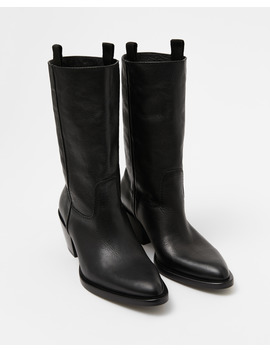 Black Leather Cowboy Ankle Boot by Bimba Y Lola