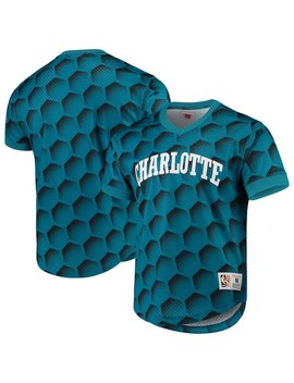 Men's Charlotte Hornets Mitchell & Ness Teal Hardwood Classics Wordmark Mesh V Neck Pullover Shooting Shirt by Nba Store