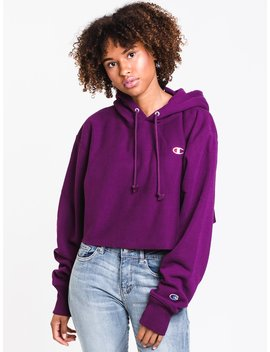 Womens Crop Cutoff Pullover Hoodie  Purple by Championchampion