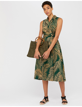 Pama Palm Print Linen Midi Dress by Monsoon