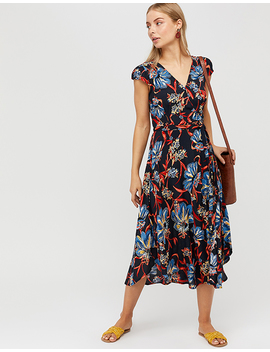 Jala Print Wrap Midi Dress by Monsoon