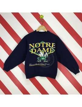 vintage-90s-notre-dame-sweatshirt-crewneck-university-sportswear-notre-dame-sweater-blue-colour-notre-dame-jumper-printed-logo-women-size-m by etsy